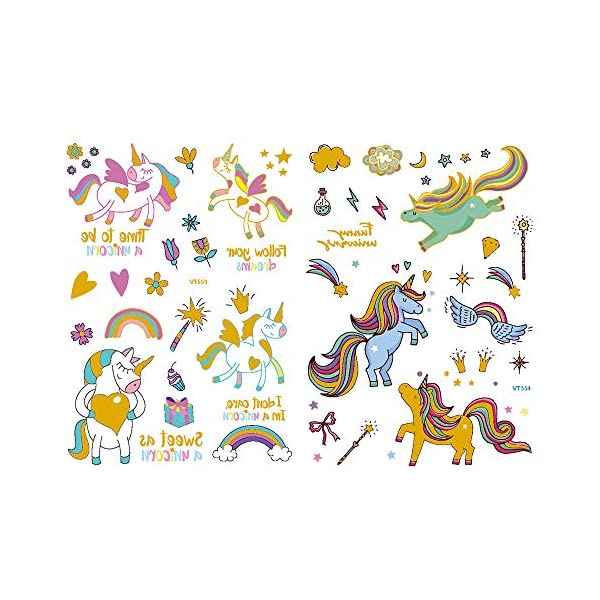 Children's Toys Creative Stickers Tattoos Bronzing Cartoon Children's Tattoo Designs of Antelope Unicorn Temporary Tattoo Stickers for Kid's Finger Face Tattoo 9