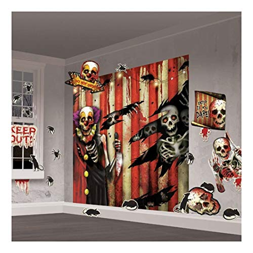 (CREEPY CARNIVAL Scene Setter Halloween Party Wall Decorations Cutouts Evil Clown- Sold by Soigne and)