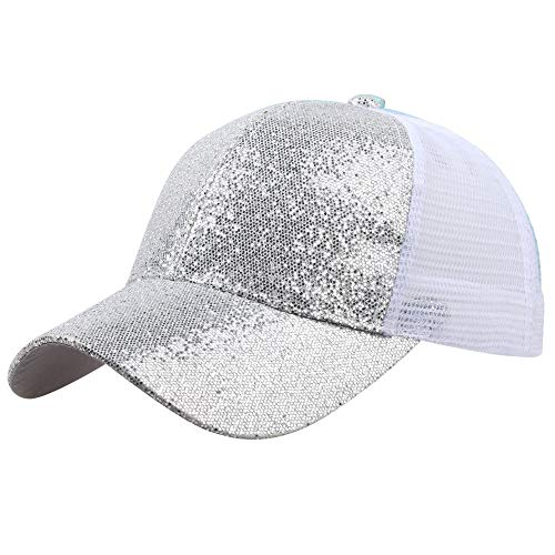 Hot Sales!! ZOMUSAR Sequins Ponytail Baseball Cap Shiny Messy Bun Snapback Hat Sun Caps for Women and Men (Silver, S)