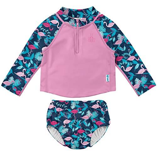 i play. Baby Girls 2pc LS Zip Rashguard Shirt Set with Snap ReusableSwim Diaper, Navy Flamingos, 6 Months
