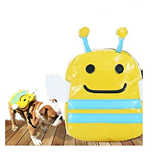 Stock Show Puppy Dog Cute Cartoon Backpack Saddle Bags, Pet Dog Travel Outdoor Walking Hiking Adjustable Back Pack Zipper Daypack, Fits to Small Medium Dogs