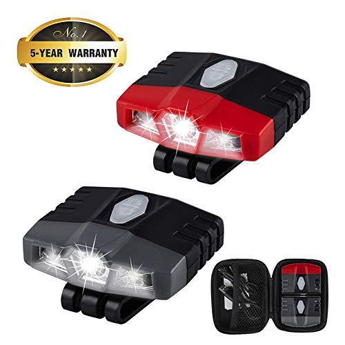 LHOTSE 2 Pack Portable Mini Hands Free LED Clip on Cap Light 6 Lighting Modes (Spotlight Floodlight) Rechargeable 100 lumens Bright, Lightweight (0.88oz) for Fishing Hand Work Baseball caps (Grey+Red