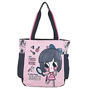 Chenson bolso escolar juvenil femenino color rosa con azul linea Anita Mejia