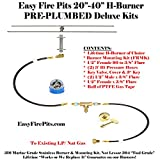 "H20K++: 20"" H-BURNER COMPLETE DELUXE KIT FOR PLUMBED NATURAL GAS OR PROPANE/ LP FIRE TABLE – BURNER, MOUNTING KIT, (2) 3′ HOSES & FITTINGS W/ KEY VALVE CONTROL ASSEMBLY"