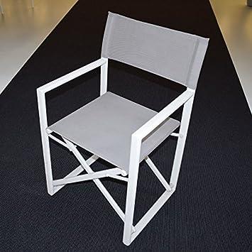 Amazon.de: 2 Stück Sessel Regisseur Alu weiß Textilene grau ...