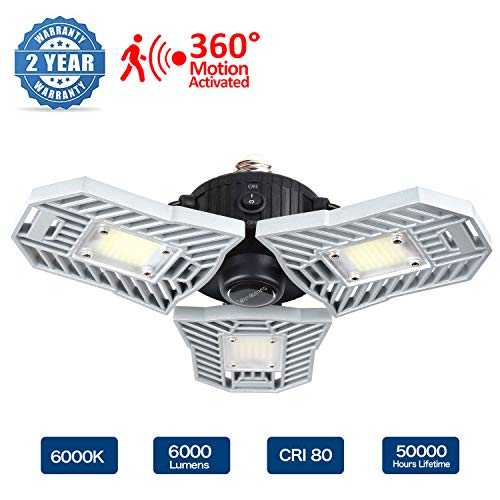 Led Garage Lights, Motion Activated Garage Light 60W 6000 LM, Deformable Garage Lights, Led Shop Light with 3 Adjustable Panels, Led Ceiling Light for Garage, Warehouse (60W Motion Activated Version)