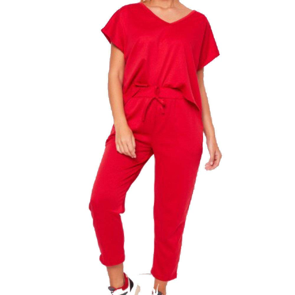Ladies V Neck Baggy Loose Fit Loungewear Suit Top & Jogger Co-Ord Set