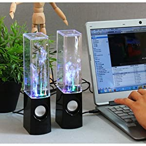 Black Dancing Water USB 6 Watt Plug & Play Speakers (Set of 2) for PC Laptop, MP3, MP4, Cell Phone, iPhone 6, iPhone 6s ) iPod, iTouch, Samsung S2 S3 S4 S5 Kindle, Desktop Computer