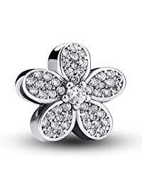 Everbling Dazzling Daisy with Clear CZ 925 Sterling Silver Bead Fits European Pandora Charm Bracelet