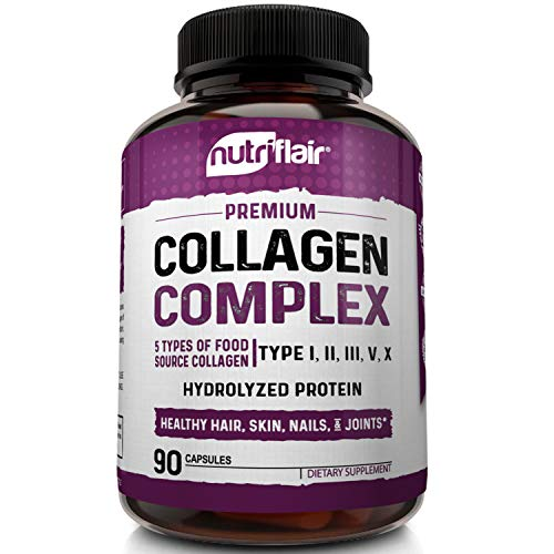 51iiFbJ365L - NutriFlair Multi Collagen Pills - Type I, II, III, V, X - Premium Collagen Peptides Complex for Anti-Aging and Healthy Joints, Hair, Skin, and Nails - Hydrolyzed Protein Supplement for Women and Men