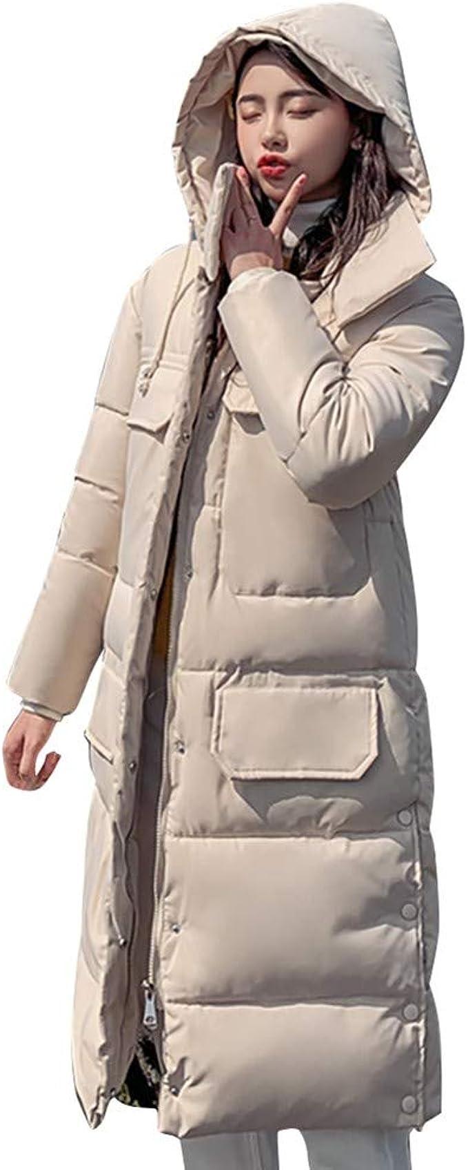 sous Doudoune Fine Femme Col en Peluche Chaude Pas Cher POPLY Doudoune Longue Femme Rouge Down Jacket Hooded Warm Manteaux Hiver Femme Outwear Veste Longue Down Coat for Women Capuche Coton Blouson