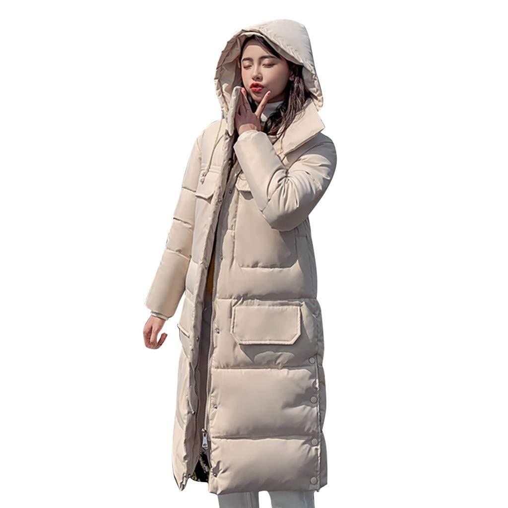 Dainzuy Women Parka Winter Jacket Down Warm Cotton Padded Long Hooded Coat Outerwear Outwear with Pockets Beige by Dainzuy Womens Outerwear