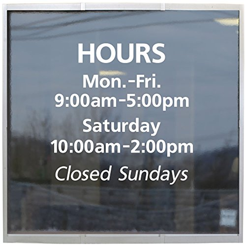 Custom Store Hours Window Decal ()