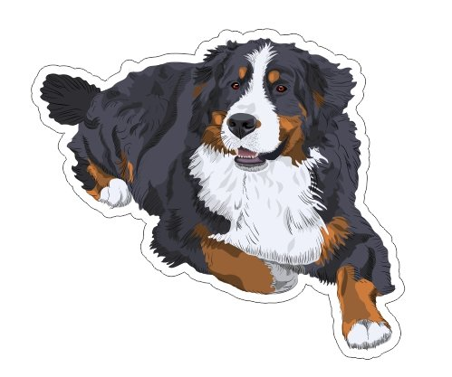 JS Artworks Bernese Mountain Dog Lying Vinyl Bumper Sticker Decal Dog pet Family -