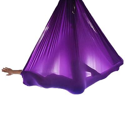Alger Corde élastique de yoga anti-gravité de sangle élastique d'anti-gravité de hamac de yoga aérien, 500 * 280cm , purple