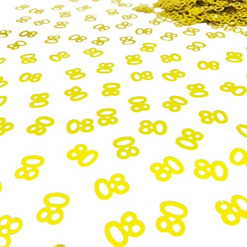 80th Birthday Confetti Number 80 Confetti 80th Anniversary Party Confetti for Party Table Decoration Supplies or DIY (Golden,1.5 Oz 1500 Pieces) ()