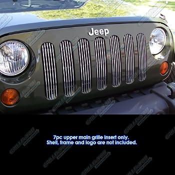 APS Compatible with 2007-2018 Jeep Wrangler JK Only Vertical Style Black Billet Grille Insert J66539E