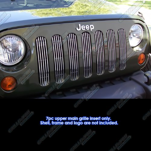 APS Fits 2007-2018 Jeep Wrangler JK Only Vertical Main Upper Billet Grille Insert #J66539V