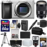 Sony Alpha A6300 4K Wi-Fi Digital Camera Body (Silver) with 18-200mm LE Lens + 64GB Card + Case + Flash + Diffuser + Battery/Charger + Tripod Kit