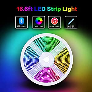 LED Strip Lights 16.4ft/5M,Led Color Changing Strip Lights,Led Lights Strip USB Power Supply with Bluetooth Smartphone APP Controller for Home Lighting Kitchen Bed Flexible Strip Lights for Bar Home