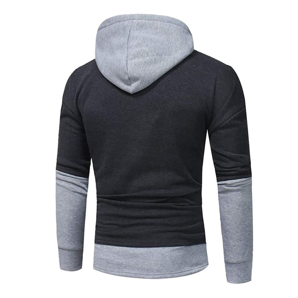 Kemilove 2018 New Mens' Long Sleeve Patchwork Hoodie Hooded Sweatshirt Tops Warm Outwear Blouse by Kemilove (Image #2)