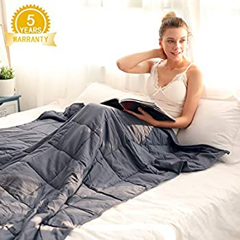 Image of Isilila Glass Weighted Blanket 48' x 72' 15 lbs/ 20 lbs - Full/Queen Size Cotton Provide Comfortable Sleep Quality for Kids & Adults (Grey, 48'x72', 15 lbs) Isilila B07WFSQ8MY Weighted Blankets