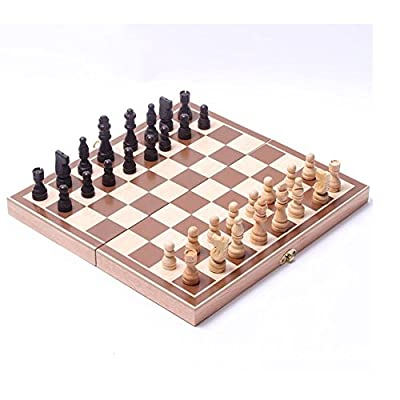 """Wooden Folding Chess Set New Portable Foldable 15"""" Standard Wooden Chess Board Set for Adults and Kids"""