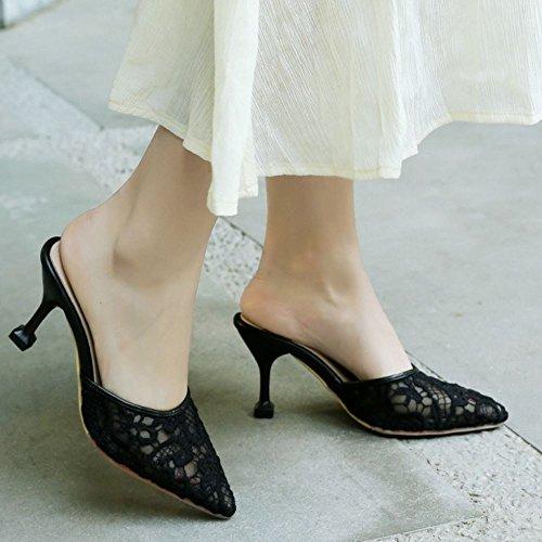 COOLCEPT Damen Geschlossene Mules Schuhe Heels Black