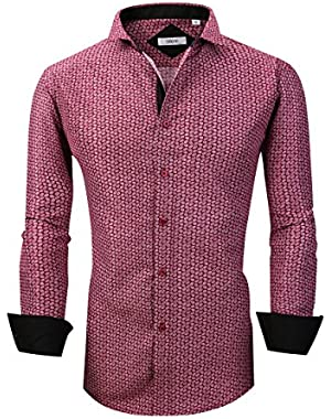 Mens Dress Shirts Casual Regular Fit Spread Collar Shirt