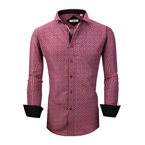 GOEPP Dress Shirts for Men - Long Sleeve Casual Cotton Spread Collar Shirt,Slim Fit (Wine,S) - Cotton Formal Shirt