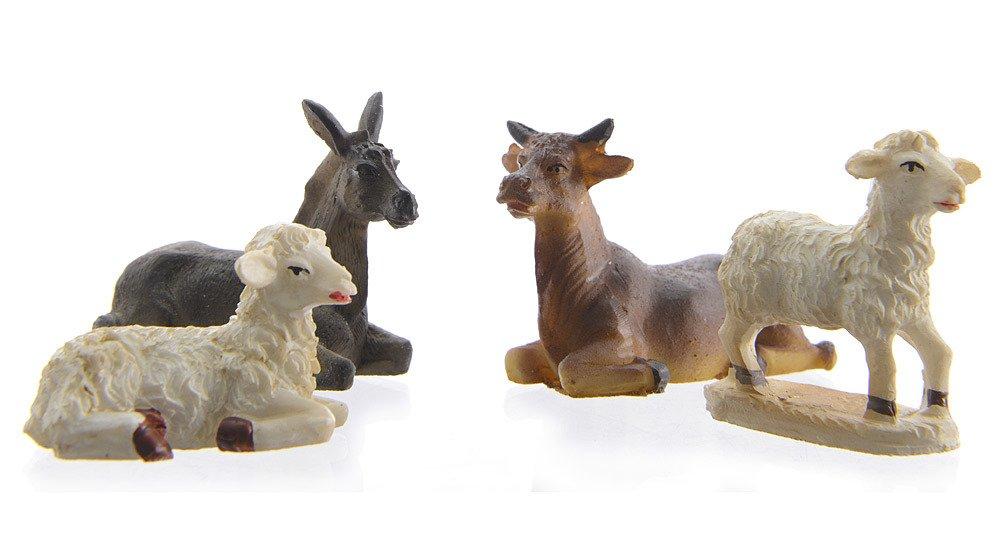 Amazon.de: Krippenfiguren Tiere Set 4 teilig Ochse Esel Schafe ...