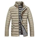 kemilove Men's Thick Solid Color Casual Down Jacket Cotton Coat