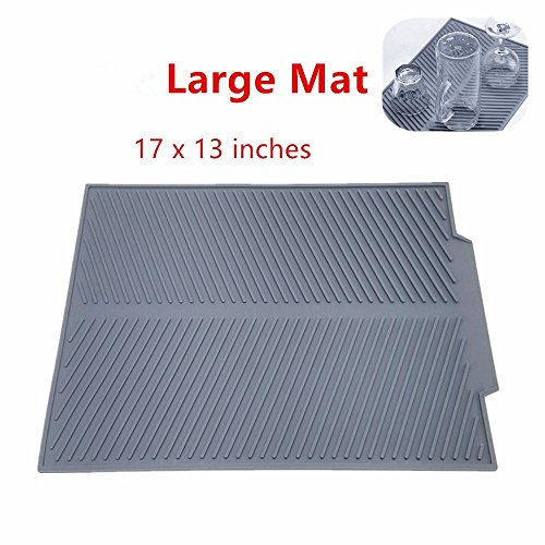 Self Draining Silicone Drying Mat. 17 x 13 inches 0.71 lb | Dish and Glassware Sloped Board Silicone Tray in Grey. Anti-Bacterial, Dish Washer Safe. Heat Resistant Trivet (Large (Draining Tray)