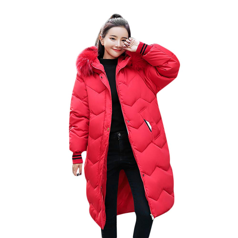 Red GridNN Women's Winter LongSleeved Solid color Zipper Pocket Fur Hooded Down Jacket Cotton Jacket