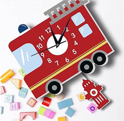 Sportskindom American fire truck wall clock Slient quartz wall clock children's background wall cartoon decoration (1) by Sportskindom (Image #6)