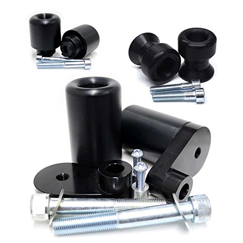 2006-2007 Honda CBR1000RR Black Complete No Cut Frame Slider Kit; Includes: No Cut Frame Sliders, Swing Arm Spools and Bar Ends - 755-3819 - MADE IN THE USA ()