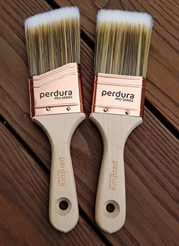 Perdura Duet Sash Trim Paint Brush Twin Pack - 2 inch Professional Quality Flat and Angled Brushes for Cutting Trim and Detail Work - Water and Oil Based Paints - Contractor or DIY - Home Art + Craft by Perdura Pro Series