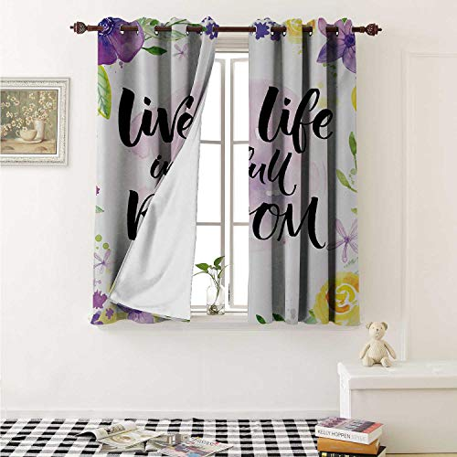 Lifestyle Blackout Draperies for Bedroom Live Life in Full of Blooms Motivational Quote with Floral Violets Print Curtains Kitchen Valance W72 x L63 Inch Purple and Yellow
