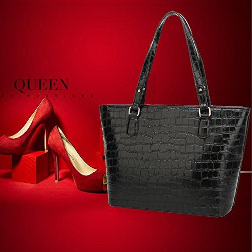 BNWVC Women Top Handle Satchel Handbags Tote Purse Crocodile Leather Shoulder  Bag. Blue c6d5951512fc5