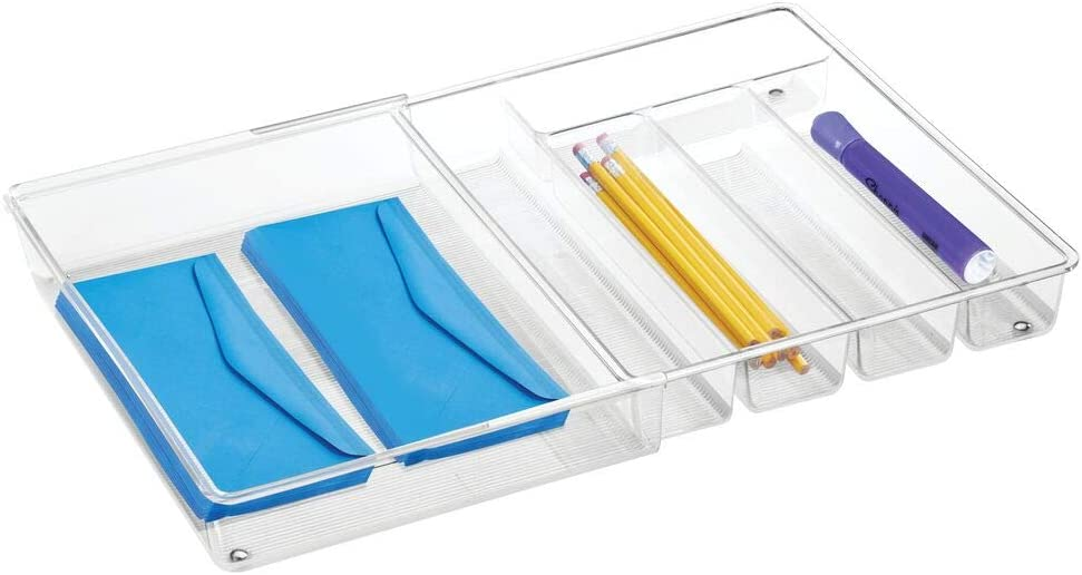 mDesign Adjustable, Expandable 6 Compartment Office Desk Drawer Organizer Tray for Office Supplies, Gel Pens, Pencils, Markers, Tape, Erasers, Paperclips, Staplers - High - Clear
