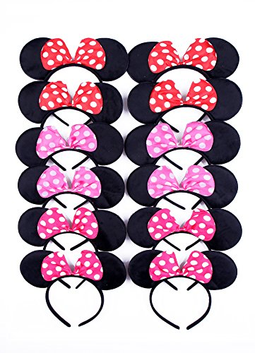 RufNTop Mickey and Minnie Mouse Polka Pink Bow Ears Headband for Boys and Girls Costume Accessory for Birthday Party or Celebrations(Red, Light Pink, Pink set of 12)