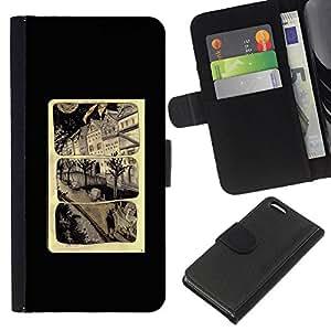 For Apple Iphone 5C Case , Cartoon Page Poster Black - la tarjeta de Crédito Slots PU Funda de cuero Monedero caso cubierta de piel