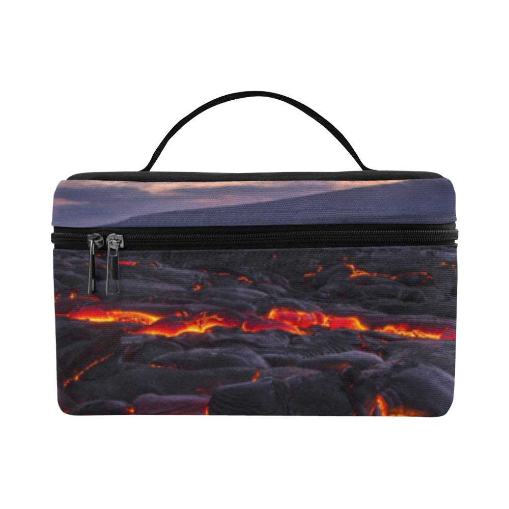 Sighing Volcanic Eruption Large Capacity Size Lady Cosmetic Bag Makeup Organizer Lunch Box Train Toiletry Case For Girls Teen Women Travel With Zipper And Single Layer