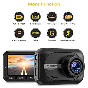TOGUARD Dash Cam 1080P Full HD Car Camera, 2.45 inch 170 Wide Angle Dash Cams for Cars with Parking Monitor, G-Sensor and Loop Recording