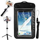 SumacLife Black Waterproof Dry Bag Cell Phone Pouch & Selfie Stick with Built-in Tripod and Remote Shutter Suitable for OnePlus 6, 5T, 5