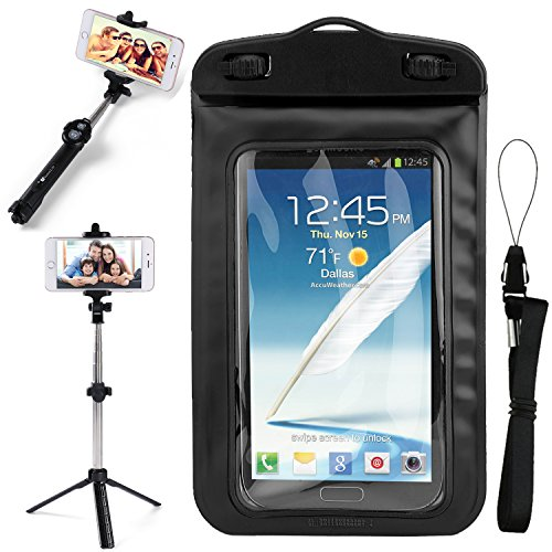 SumacLife Black Waterproof Dry Bag Cell Phone Pouch & Tripod Selfie Stick for Sony Xperia XZ2/XZ2 Premium/L2/XA2/R1 Plus/R1/XA1 Plus/XZ1/XZ Premium/L1/XA1/XZs by SumacLife