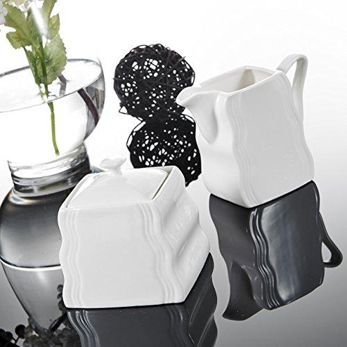 Malacasa, Serie Mario, 3-teilig Porzellan Milch und Zucker Set mit Deckel, Milchkännchen Zuckerdose Milch- & Zuckerbehälter Keramik Küchenhelfer