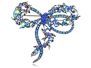Synthetic Sapphire Synthetic Capri Blue Colorful Crystal Rhinestone Dragonfly Bug Design Pin Brooch