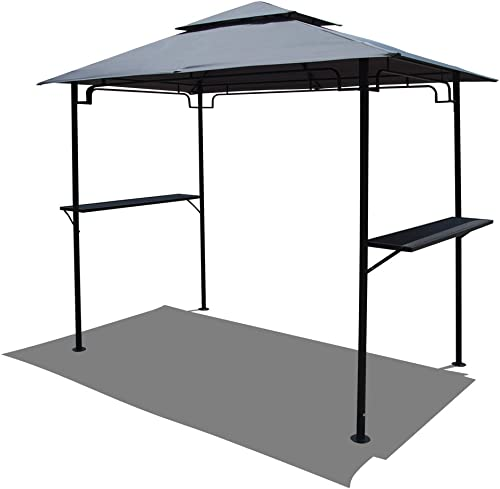 COBANA 8 by 5 Steel Outdoor Backyard BBQ Grill Gazebo with 2-Tier Soft Top Canopy, Gray