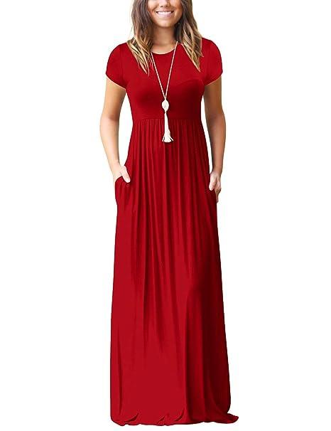 Amazon.com: Maxi vestidos para mujer casual suelto vestido ...